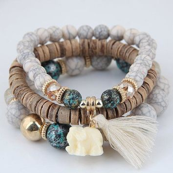 Women's 3 Piece Natural Taupe Elephant BOHO Wooden Beaded Bracelet with Beige/Ivory Tassel Detail
