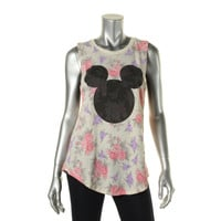 Disney Womens Juniors Floral Print Mickey Mouse Muscle Tank