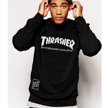 Winter new THRASHER hip-hop tide brand long-sleeved warm round neck sweater men