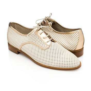 Lesly Derby Vanilla Gold for Women - Made in Italy