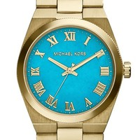 Women's Michael Kors 'Channing' Turquoise Dial Bracelet Watch, 38mm