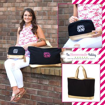 Black and Gold Cabana Tote with matching Make Up Bag