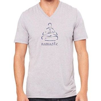 "Yoga Clothing for You Mens ""Namaste Lotus"" V-neck Tee Shirt"