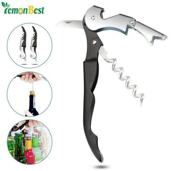 VONFC9 2Pcs High Quality Multifunctional Corkscrew Bottle Opener Professional Portable Wine Beer Opener with Serrated Knife Cook Tools