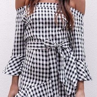 Time To Go Black White Gingham Check Pattern Long Flare Sleeve Off The Shoulder Ruffle Casual Mini Dress