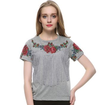 Summer T Shirts Women Tassel Floral Print T shirt Vintage Red Rose Tops Chemisier Femme #B02