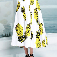 White High Waist Pineapple Print A-Line Midi Skater Skirt