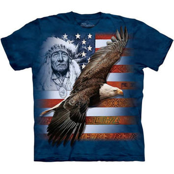 The Mountain SPIRIT OF AMERICA T-Shirt S-3XL USA Native American Indian Tee NEW!