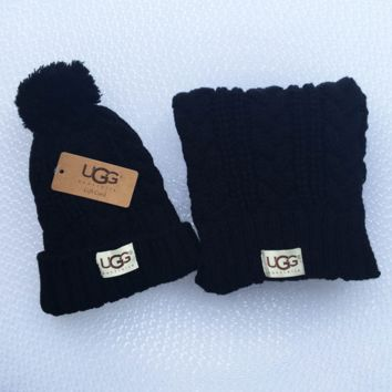 UGG Women Men Embroidery Beanies Knit Hat Warm Woolen Hat Scarf Set Black