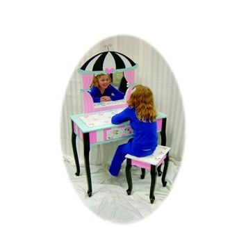 LC Creations Poodles In Paris Vanity with Mirror and Bench