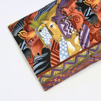 Horses Fabric Passport Cover with Velcro Closure - Laurel Burch Mythical Horses