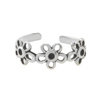Sterling Silver Adjustable Toe Ring Triple Daisy Flower