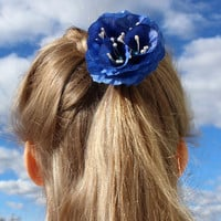 Blue flower ponytail elastics Blue summer flower Gift for girl Floral headpiece Flower hair accessories Wedding flower girl Floral hairtie