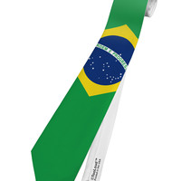 Brazil Flag AOP Printed White Neck Tie All Over Print