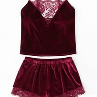 Velvet Lace Cami Short Set