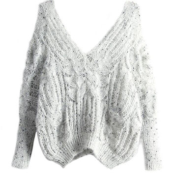 Beige Double V-neck Open Knitted Sweater