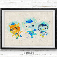 Octonauts Watercolor Art Print, Kids Decor, Wall Art, Home Decor, Not Framed, Buy 2 Get 1 Free!