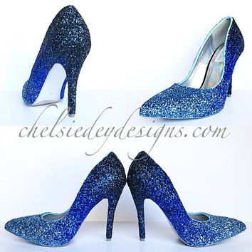 Blue Ombre Glitter Pointed Pumps, Something Blue Wedding Shoes