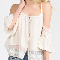 Button Up Cold Shoulder Lace Top - Medium
