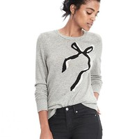 Italian Cashmere Blend Bow Crew Sweater | Banana Republic