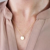 Gold Initial Disc Necklace / Personalized Initial Necklace / Customized Letter Necklace / Layering Necklace / Bridesmaid Gift
