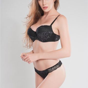 Big Size 36 38 40 DD DDD E F Cup Black Intimate Lingerie Set Lace Floral Underwear Bra Sets Push Up Bra and Panty Set For Secret