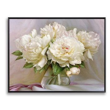 White Flower Peony DIY Painting By Numbers Unique Gift Wall Art Paint By Number Canvas Pictures for Living Room Quadros SZH-71