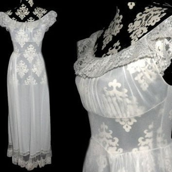 Vintage 50s Nightgown CARTERS Nylon Lace Long Gown S 32