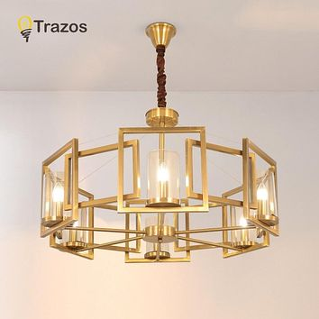 Double Spiral Gold Chandelier  Hanging Suspension Lamp