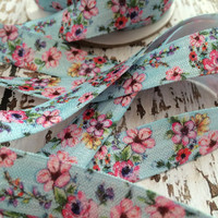 "Vintage Light Blue Floral Print 5/8"" Fold Over Elastic, FOE, Hair Accessory Supplies"