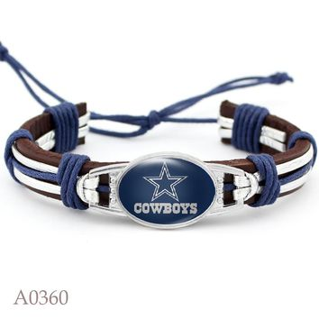 Hot Selling Real Leather Bracelet With Dallas Cowboys Charms Adjustable Bracelets & Bangles USA Football Sport Fan Jewelry 10PCS