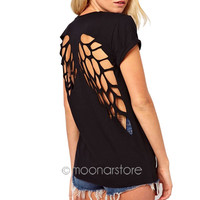 2015 Summer Hot T-shirts Angel Wings Short Sleeve 0-Neck