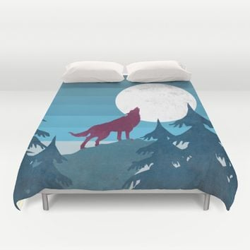 Wolf in the woods Duvet Cover by Xiari