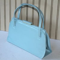Vintage Theodor of California Handbag in Baby Blue , Vintage 50's-60's Light Blue Vinyl Purse , Snap Shut Bag , Pristine Theodor Bag