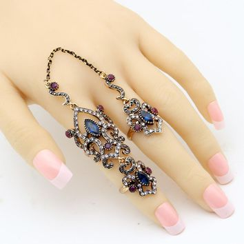 Vintage Turkish Women Flower Resin Adjustable Double Finger Ring Arabesque Crystal Jewelry Antique Gold Color Wedding Anillos