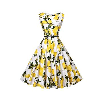 Tea Length Cocktail Dress, Lemons, US Sizes 4 - 26