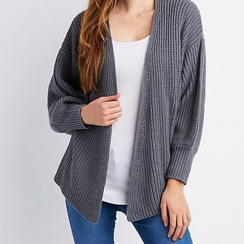 Striped Shaker Stitch Open Cardigan | Charlotte Russe