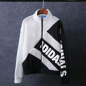 ADIDAS hot black white interval white mesh one piece coat jacket