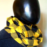 Unisex Infinity scarf, cowl, scarf,  checkered cotton 100% black and yellow, lightweight,EXTRA WIDE.READY To SHIp.