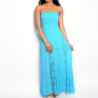 Smocked & Laced Strapless Maxi Dress in Turquoise