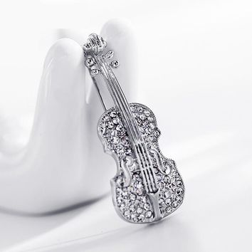 LNRRABC Fashion Women pins Personality brooches Crystal Rhinestone Violin Brooches Pin Jewelry Accessories brooch