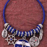 Anchor Charm Bracelet - Blue