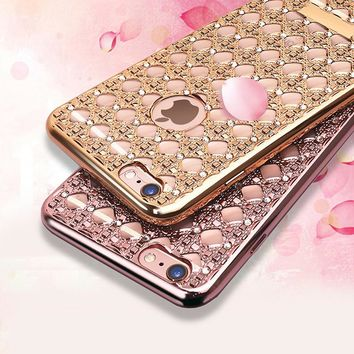 Fashion Crystal Case For Iphone 5 5s SE Bling Diamond Agate Gemstone Soft TPU GEL Skin Back Cover Plating Ultra thin Frame Case