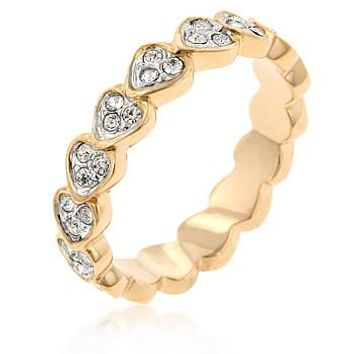 18k Gold Filled Heart Eternity Band - Size 4