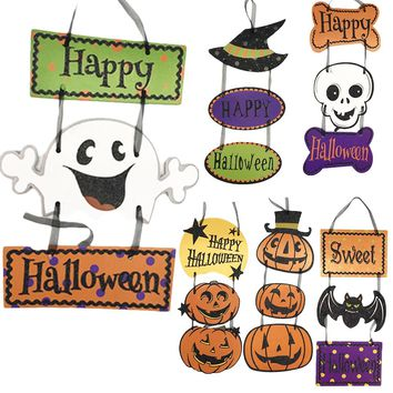 Halloween Hanging Cute Paper Pendant Pumpkin Skeleton Ghost Strips Window  Decoration Arrangement Props Party Home DIY Supplies
