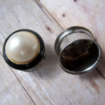 "One of a Kind Pair of Vintage Pearl, Black, and Gold Plugs - Handmade Girly Gauges - Formal  - Bridal - 9/16"", 5/8"", 3/4"" (14mm, 16mm, 19mm)"