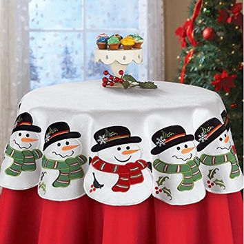 Snowman Winter Holiday Table Square Topper