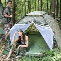 CVLIFE Hiking & Camping Camouflage 3 Person Instant Tent With Portable Bag