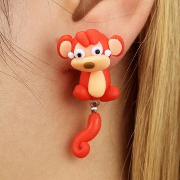 Winterxue Handmade DIY Polymer Clay Stud Earrings For Women Jewelry Lovely Red Monkey Piercing Earrings Children Kids Brincos