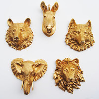 Faux Taxidermy - Create Your Own Zoo - Pick Any Three (3) Gold Miniature Faux Taxidermy Pieces From the Picture to Create Your Own Zoo